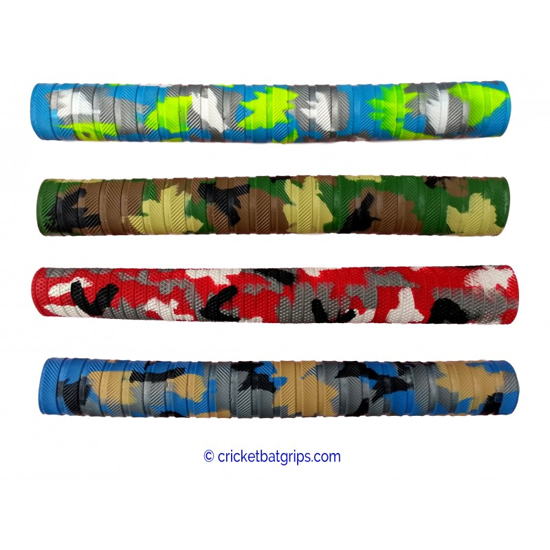 Camouflage cricket bat grip in four colours