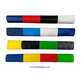 Four coloured cricket bat grip with equal sized bars