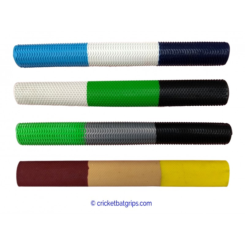 Three coloured cricket bat grip in 3 equal bars