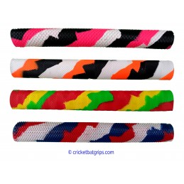Three coloured splash-spiral cricket bat grip